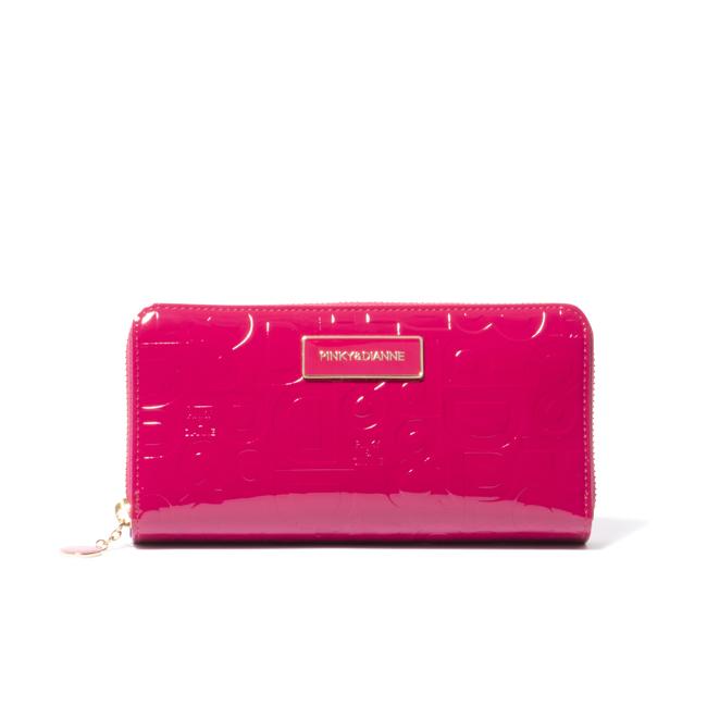 PINKY&DIANNE エナメルエンボス カード入れ付きラウンドファスナー長財布